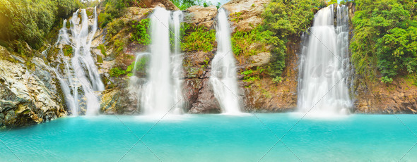 Waterfall panorama - Stock Photo - Images