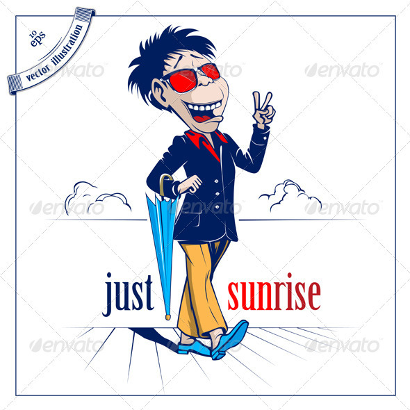 Cartoon Man With Close Umbrella - People Characters