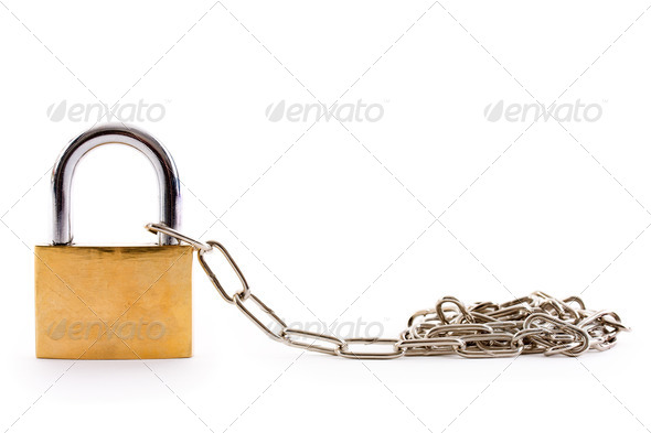 Chain and padlock left - Stock Photo - Images