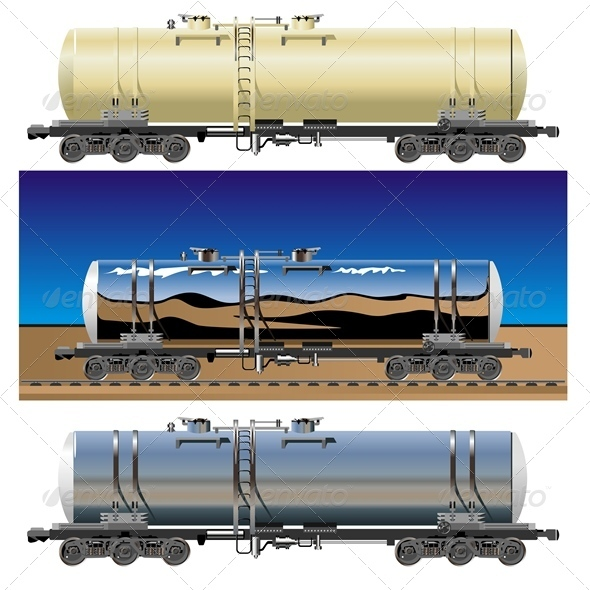 Vector Oil Gasoline Tanker Car Set