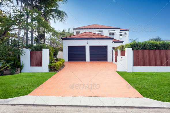 Modern house front - Stock Photo - Images