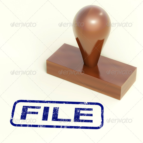 File Rubber Stamp Shows Organising Documents And Papers - Stock Photo - Images
