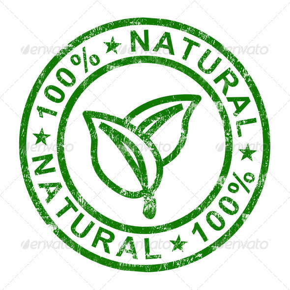 100% Natural Stamp Shows Pure Genuine Products - Stock Photo - Images