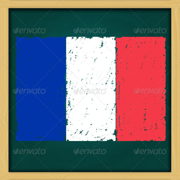 hand drawing France grunge flag artwork on high resolution green - Stock Photo - Images