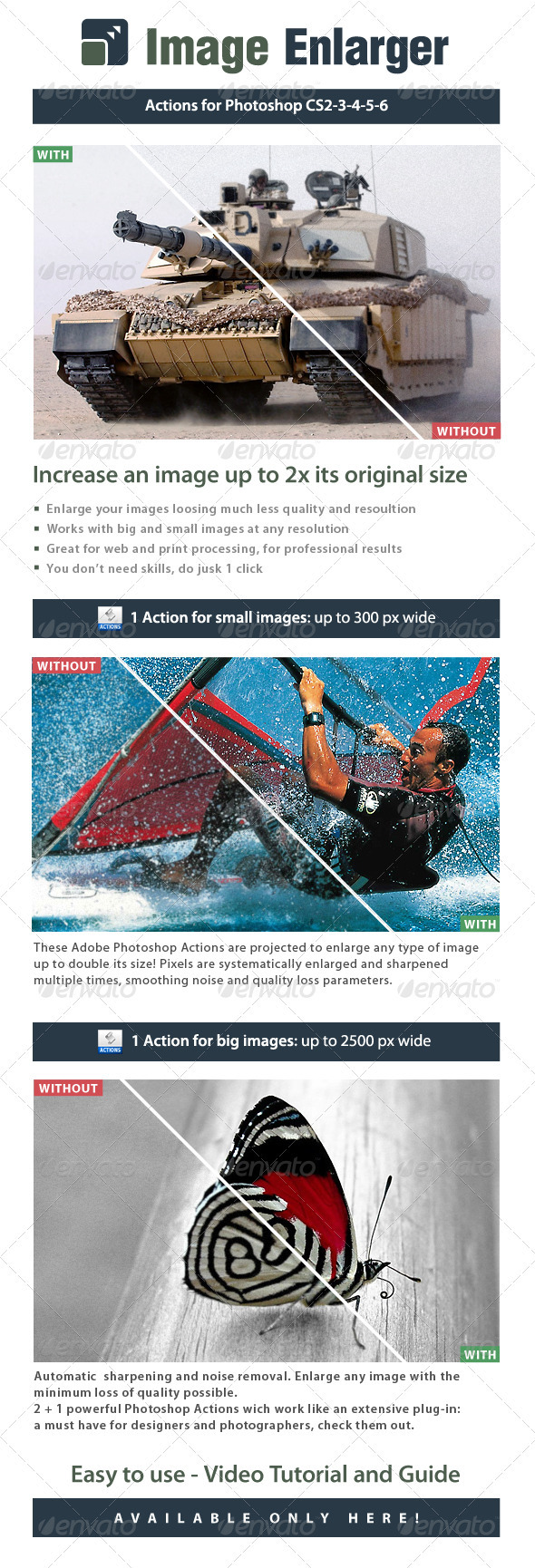 Image Enlarger - Double size images  - Photo Effects Actions