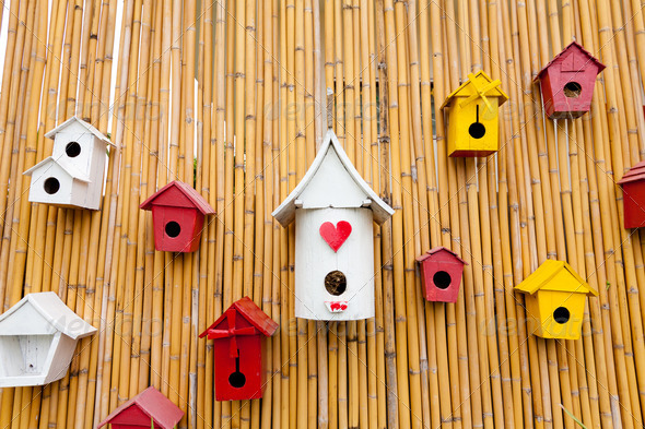 Colorful collection of birdhouses - Stock Photo - Images