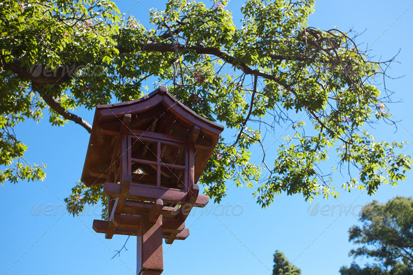 Japanese lantern on a background of blue sky - Stock Photo - Images
