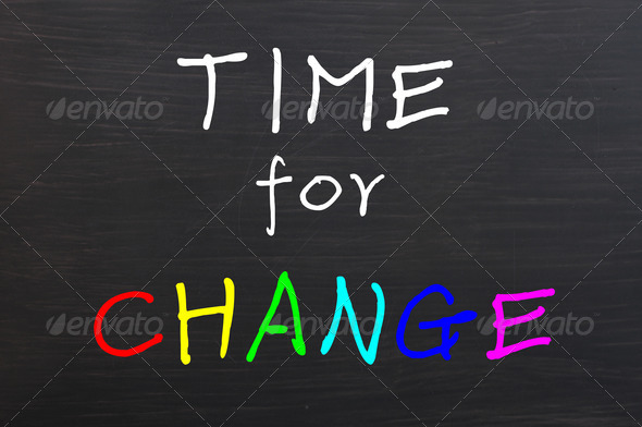 Time for change, colorful words on blackboard  - Stock Photo - Images