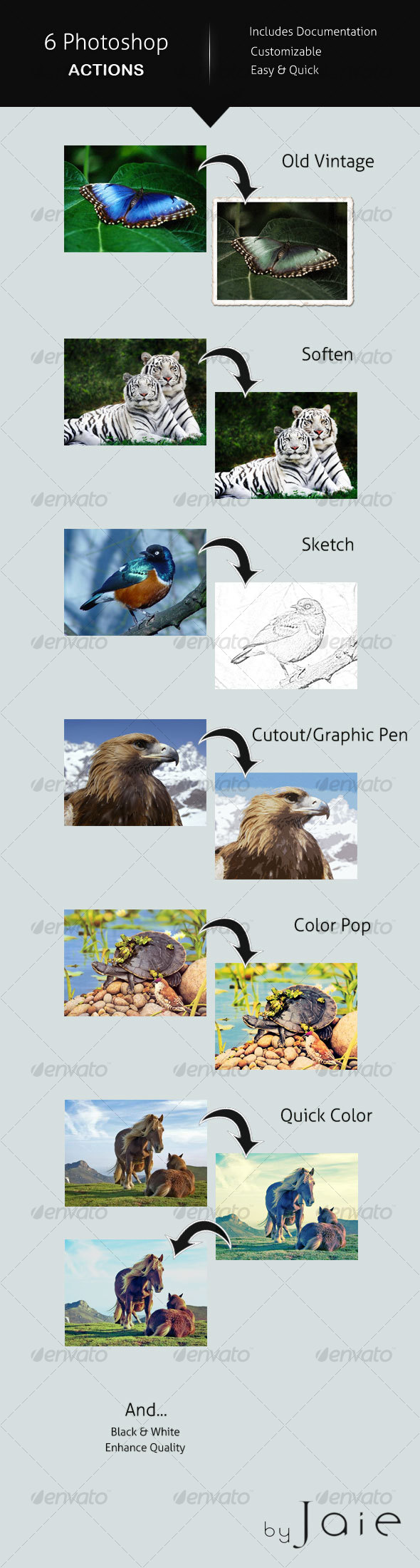 GraphicRiver 6 Photoshop Actions 92706