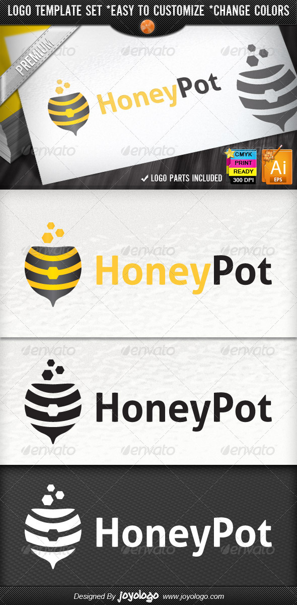 Honeypot Magic Bowl Honey Bee Shop Logo Design