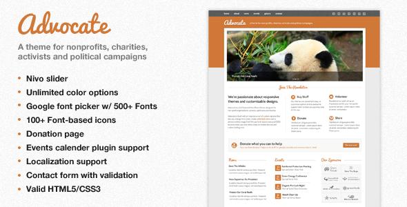 ThemeForest Advocate A Nonprofit WordPress Theme 2537016