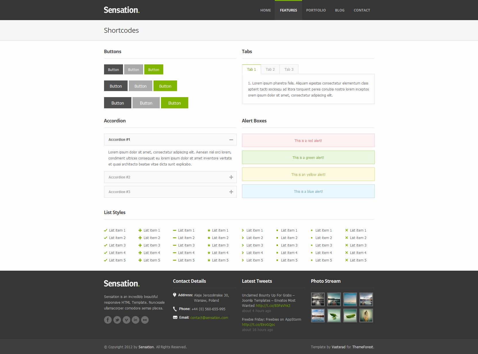 Sensation - Responsive HTML Template
