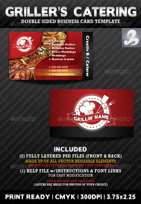 griller s catering business card templates graphicriver