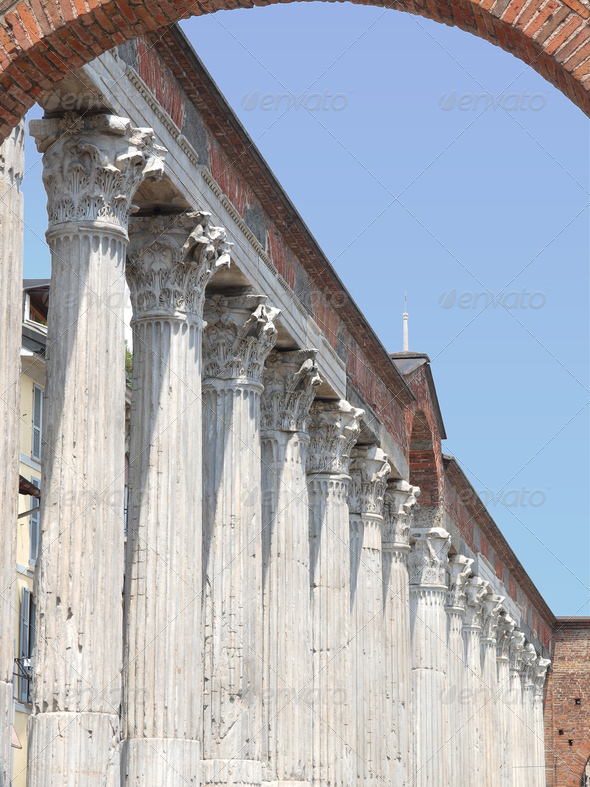 Colonne di San Lorenzo, Milan - Stock Photo - Images