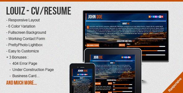 Louiz - CV/Resume Responsive Template + 3 Bonuses