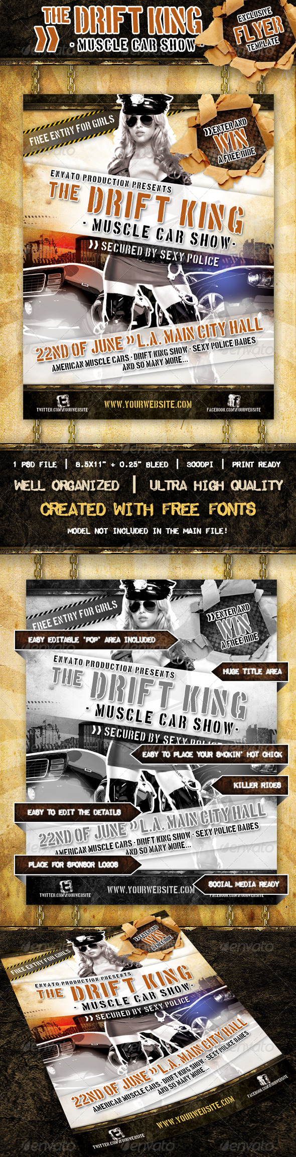 Muscle Car Show flyer - Events Flyers