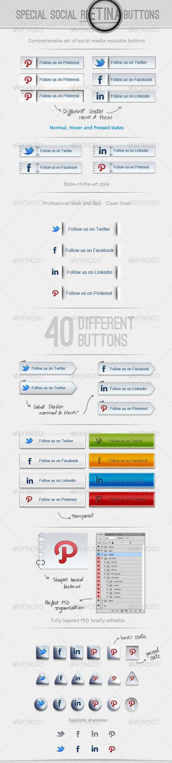 40 Special Social Retina Buttons