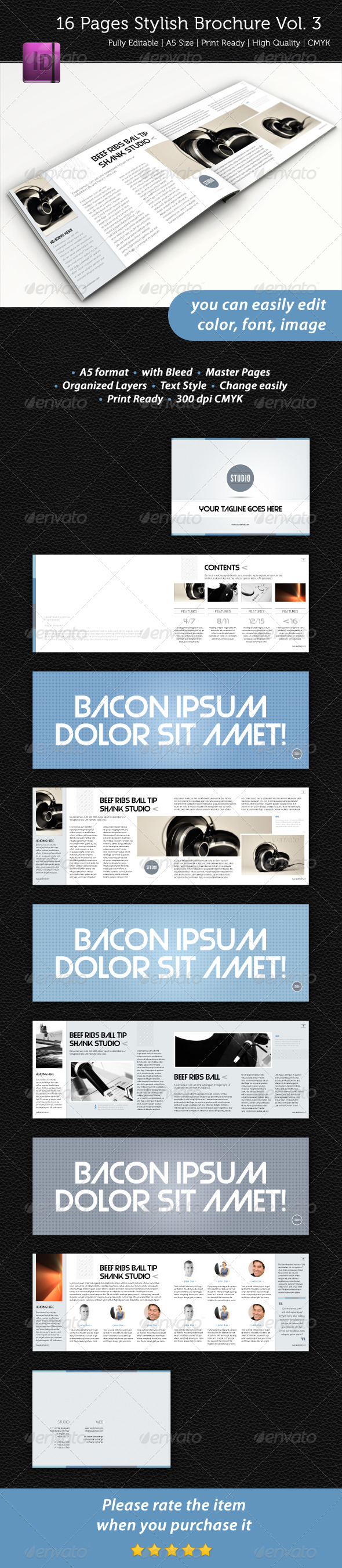 16 Pages Stylish Brochure Vol. 3 - Informational Brochures