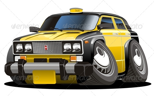 GraphicRiver Vector Cartoon Taxi Car 2547568