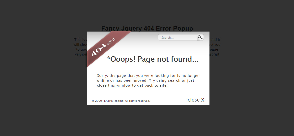 Fancy Jquery 404 Error Popup - color5
