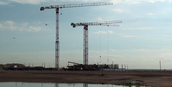 Construction Crane And Birds