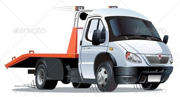 Vector Cartoon Tow Truck - Characters Vectors