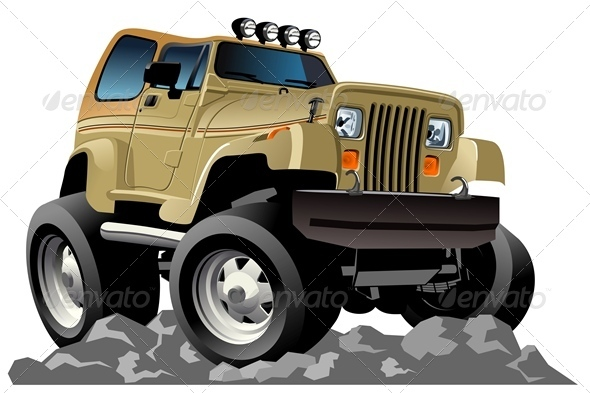 Vector Cartoon Jeep - Characters Vectors