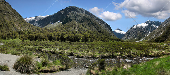 Mountain range at the Milford Road - Stock Photo - Images