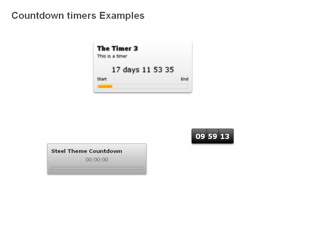 LuxCountdown - An example of a page containing some countdowns and timer before created with LuxCountdown script.