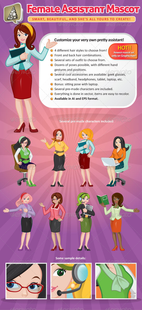 GraphicRiver Female Assistant Mascot Creation Kit 2549057