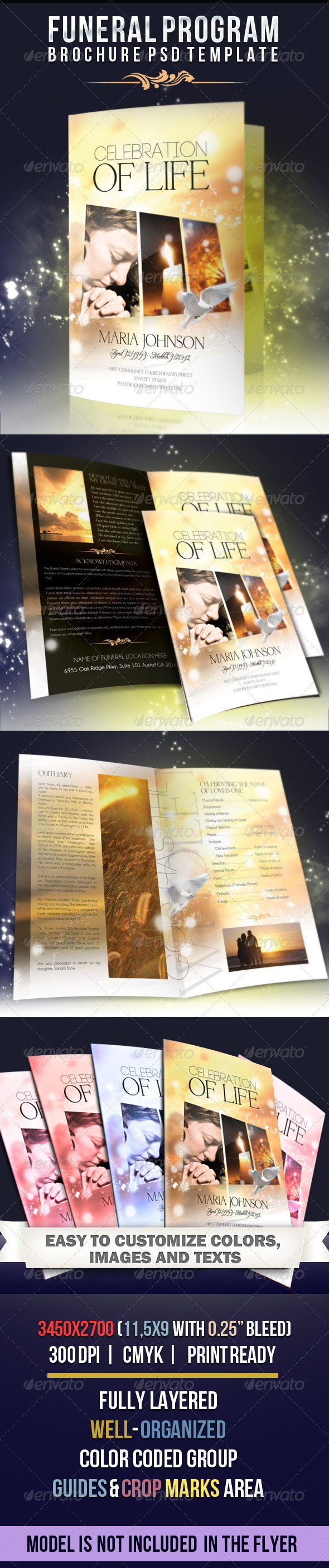Celebration of life - Funeral Program Brochure Template - Brochures Print Templates