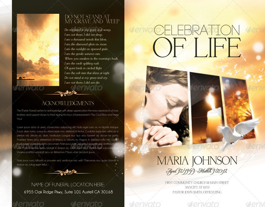 Celebration of life - Funeral Program Brochure Template by Webm ...