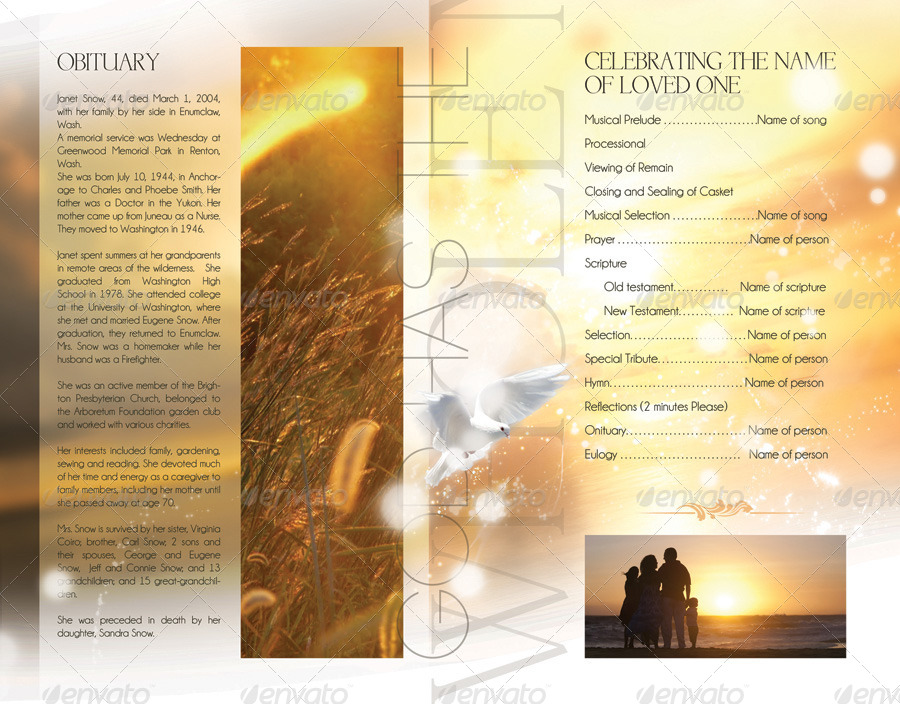 Celebration of life funeral program brochure template by for Free celebration of life program template