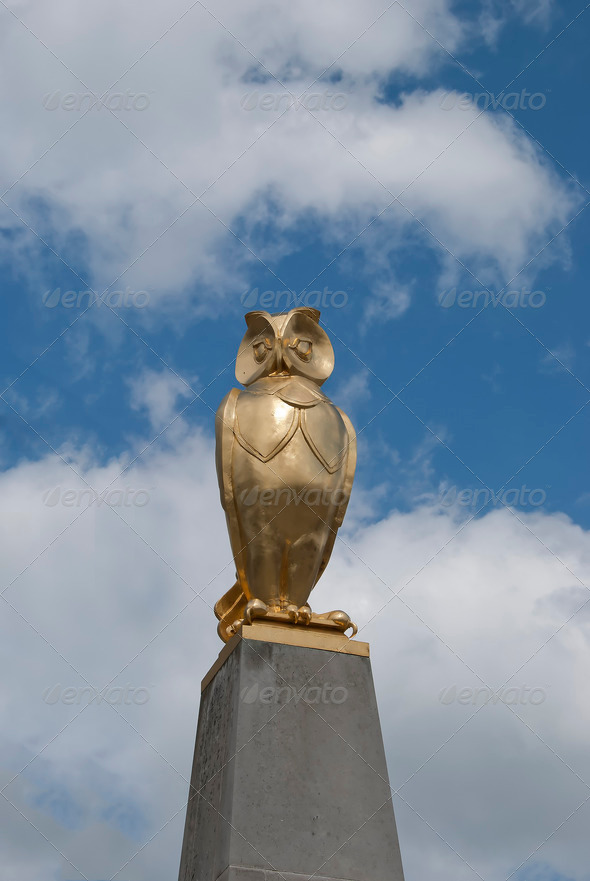 Gold Owl Statue - Stock Photo - Images