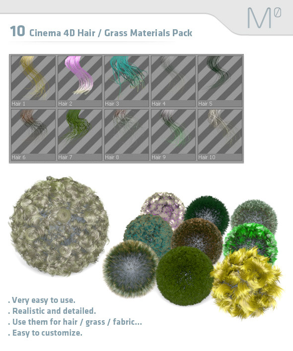 10 Cinema 4D Hair / Grass Materials Pack - 3DOcean Item for Sale