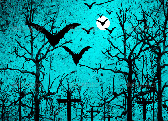 Halloween background with bats and full moon - Stock Photo - Images