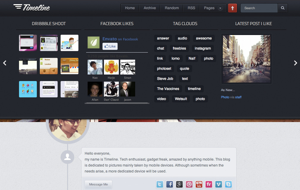 Timeline - Premium Tumblr Theme - Preview widgets panel when slide up/down