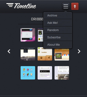 Timeline - Premium Tumblr Theme - Timeline Theme mobile view slide down widget