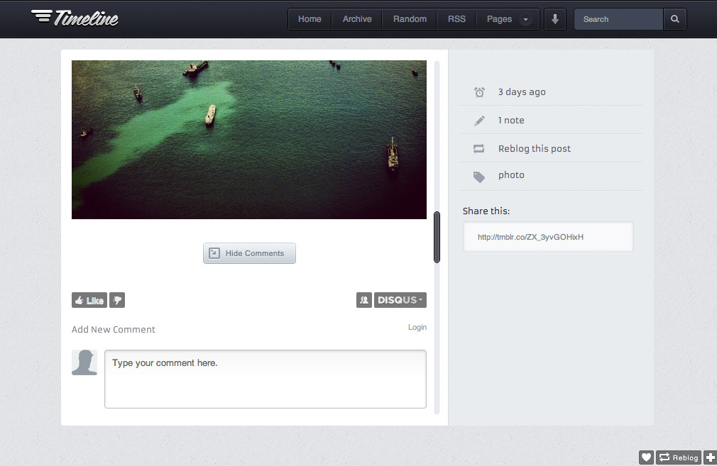 Timeline - Premium Tumblr Theme - Permalink page to view disqus comments