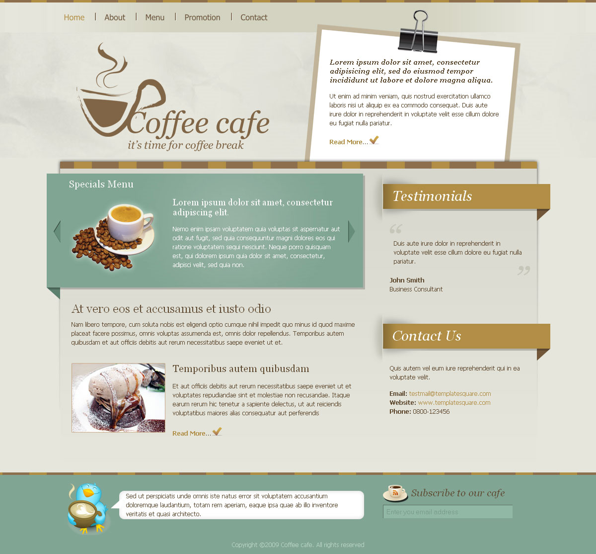 coffee cafe html site template by templatesquare themeforest. Black Bedroom Furniture Sets. Home Design Ideas