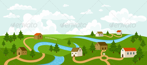 Summer Village Landscape - Landscapes Nature