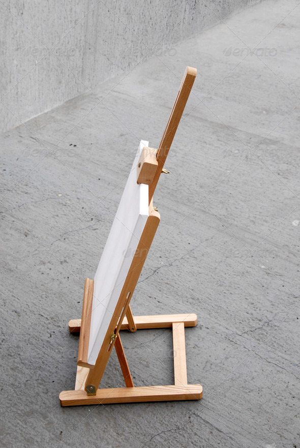 Easel with blank canvas - Stock Photo - Images
