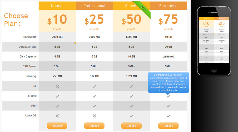 Pure css responsive pricing tables for wordpress by zeeq for Responsive table