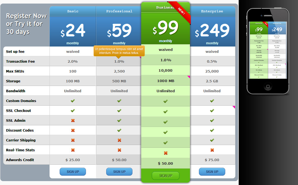 Pure CSS Responsive Pricing Tables for Wordpress by zeeq