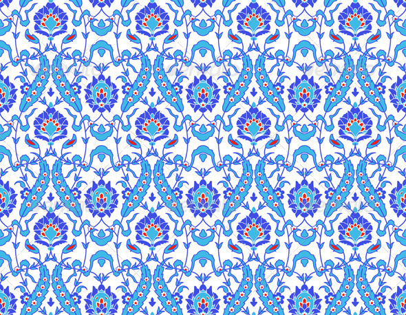 Islamic Flower Pattern on White - Patterns Decorative