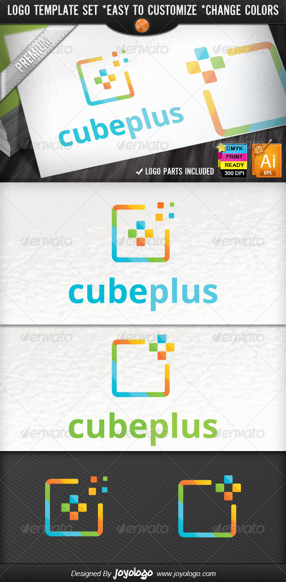 GraphicRiver Abstract Cube Pixel Modern Media Plus Logo Design 2555908