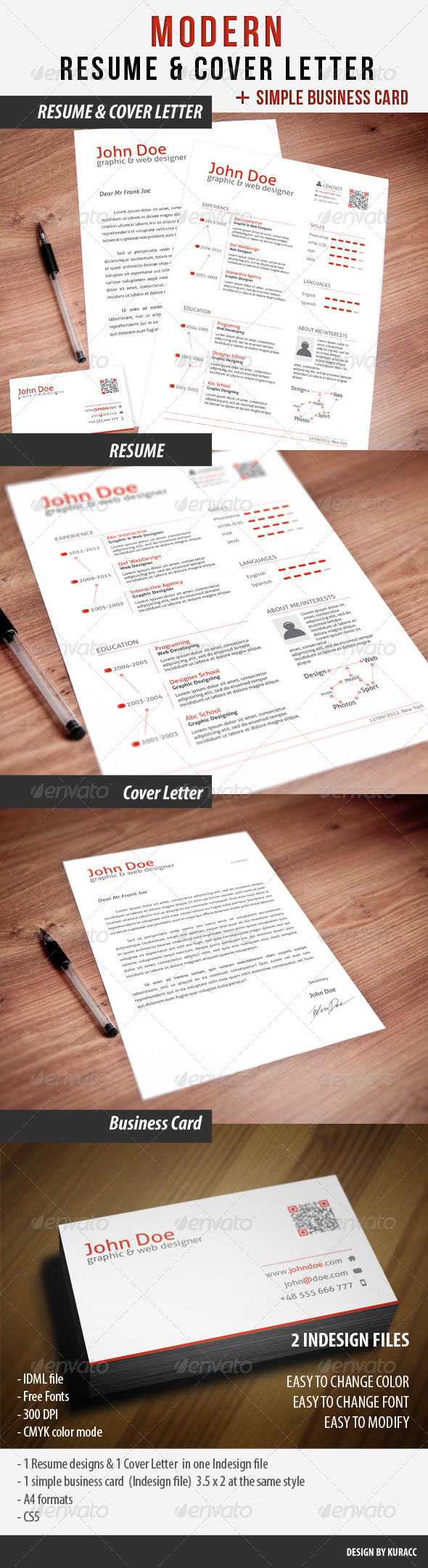 GraphicRiver Clean Resume & Cover Letter & Business Card 2555944