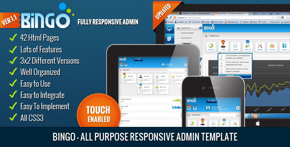 Bingo - All Purpose Responsive Admin Template - Admin Templates Site Templates