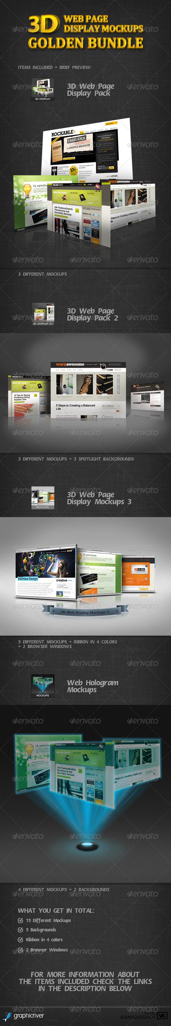 GraphicRiver 3D Web Page Display Mockups Golden Bundle 2557003