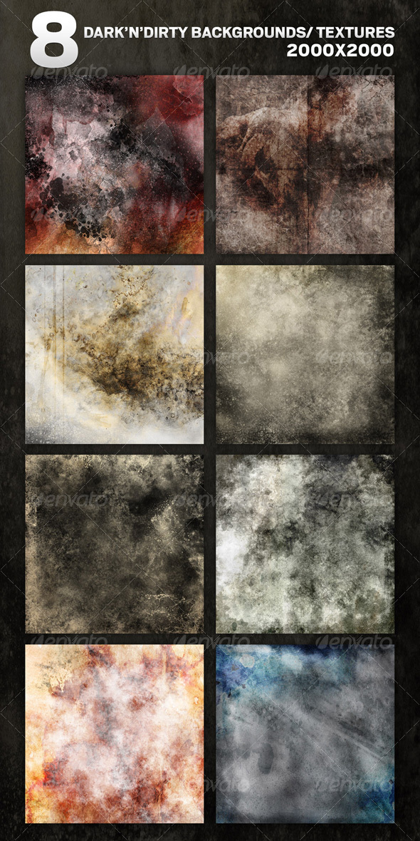 GraphicRiver 8 Dark N Dirty Backgrounds Textures in RGB & CMYK 93136